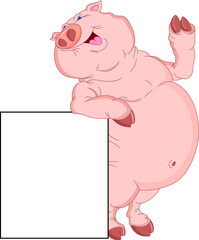 cute fat pig cartoon with blank sign