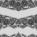 Black Lace seamless pattern with flowers on white background  -