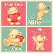 Teddy Bear in Retro Love Background