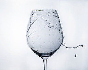 Water splash on a wineglass