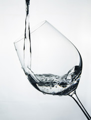 Water splash in a wineglass