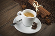 cup of coffee with cinnamon sticks and anise