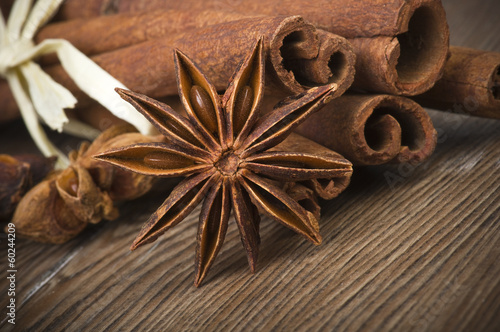 cinnamon sticks and anise on wooden table