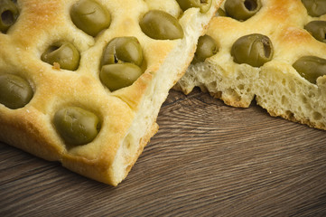 focaccia with olives ,focaccia is flat oven baked Italian bread