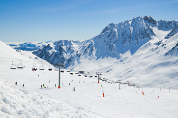 Ski slope in the winter Pyrenees