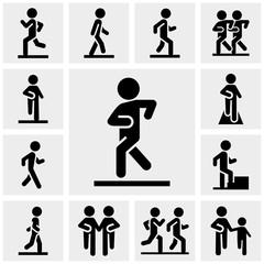 Walking vector icons set on gray