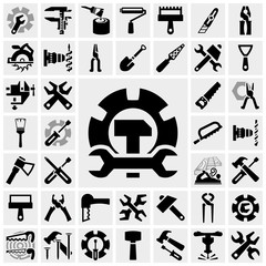 Tools vector icons set on gray.