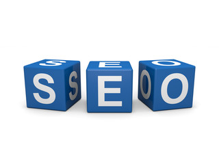 Blue cubes with white seo letters