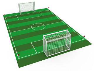 White football goal on the background of green field #4