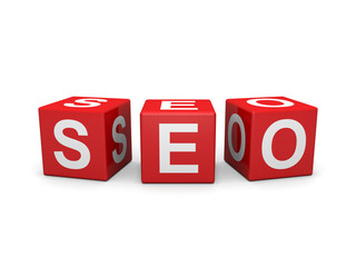 Red cubes with white seo letters