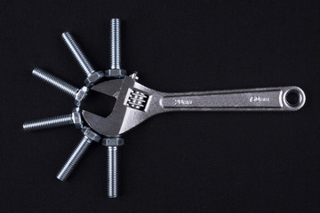 Adjustable wrench and screws