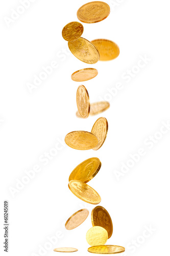 canvas print picture Heap of falling old gold coins isolated on white