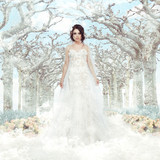 Fantasy. Bride in White Dress. Frozen Winter Trees, Snowflakes