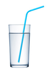 glass of water and drinking straws on white background