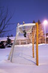Hockey net in the front yard