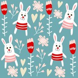 Cute seamless pattern with bunnies, hearts and flowers, vector
