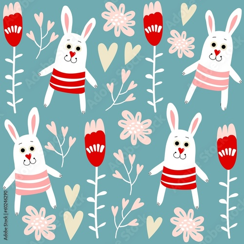 Cotton fabric Cute seamless pattern with bunnies, hearts and flowers, vector