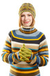 Beautiful young smiling woman in colored striped sweater