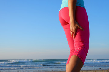 Runner with hamstring muscle painful spasm