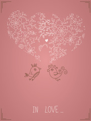 Floral wallpaper with birds and hearts.