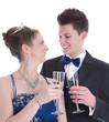 Isoliert: Liebespaar feiert Fasching oder Karneval