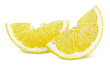 Slices of lemon fruit isolated on white background