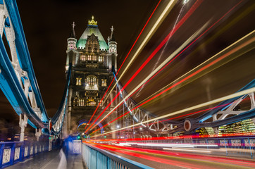 Tower Bridge at NIght with Light Trails left by Passing Buses
