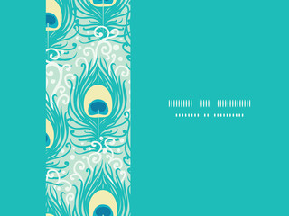 Peacock feathers vector frame horizontal seamless pattern