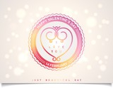 Joyful sticker with heart and lettering for Valentine's Day