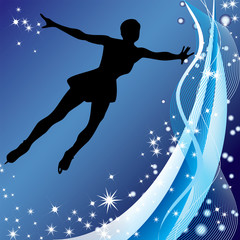Silhouette of woman figure skater