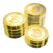 Three Stacks of Bitcoins