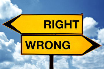 Right or wrong, opposite signs