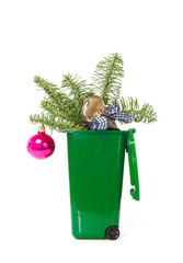 Christmas decorations in the bin