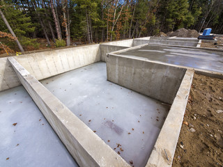 Concrete foundation for new houses