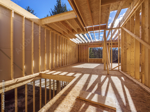 Foto op Canvas Industrial geb. New framing construction of a house