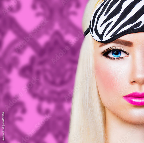 Beautiful blonde girl with pink lips