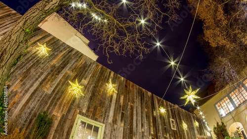 star shaped decorations at night time lapse