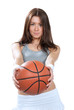 woman holding Basketball ball in hands and give it