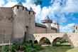 Chateaux de la cite and bridge on sunny day at Carcassonne