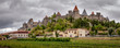 Carcassonne old fortified city panoramic view with stormy sky