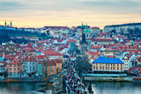 Panoramic view of Prague on the sunset in the winter