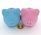 Two piggy-bank with coin.3d illustration on white