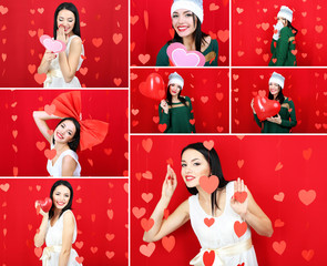 Collage of Valentine's Day. Attractive young woman.