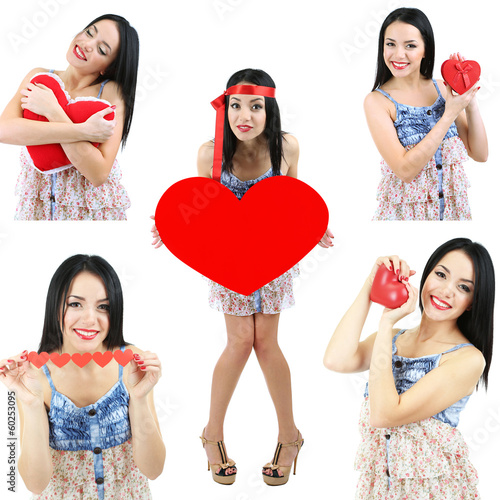 Collage of Valentine's Day. Attractive young woman with heart.