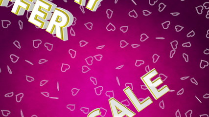 Valentine day sale loop with moving background. Pink version.