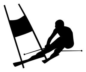 Silhouette of a Slalom Skier