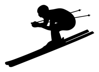 Silhouette of Downhill Skier