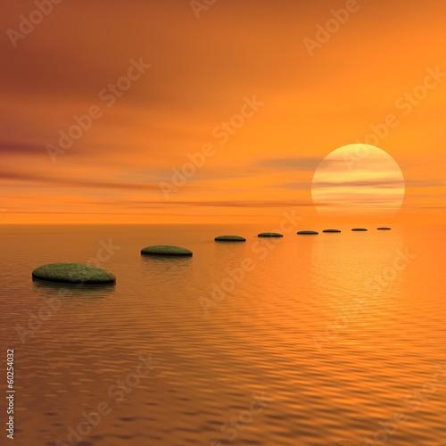 In de dag Oranje eclat Steps to the sun - 3D render