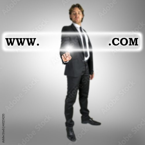Businessman activating a website address bar