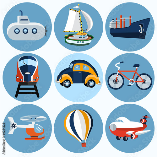 Flat transport icon  , set